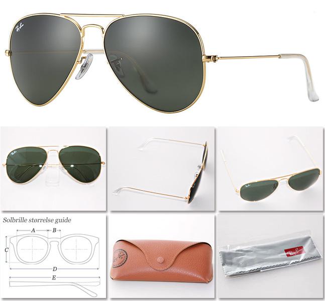 e7fe3e05554f RayBan Aviator solbriller guld grøn RB3025 L0205